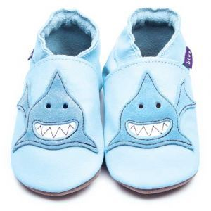 Shark Baby Blue Inch Blue Shoes - Soft Handmade Leather Baby Shoes