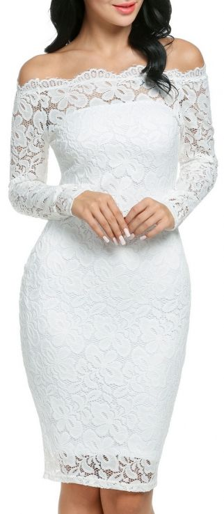 All Caught Up Off-Shoulder Lace Dress - White