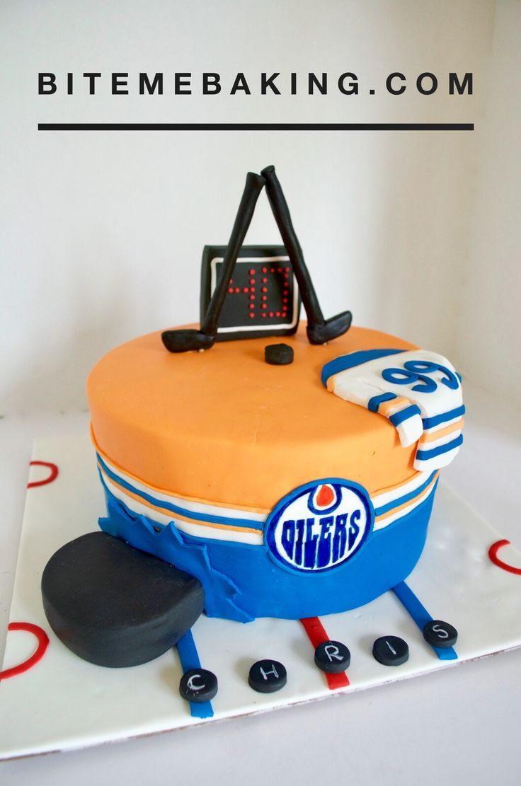 Magnificent Oilers Nhl Hockey Cake For A Hockey Themed Birthday Party Funny Birthday Cards Online Elaedamsfinfo