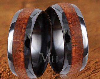 Koa Wood Mens Wedding Rings