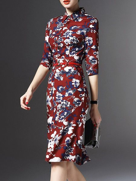 Floral-print Midi Dress with Belt
