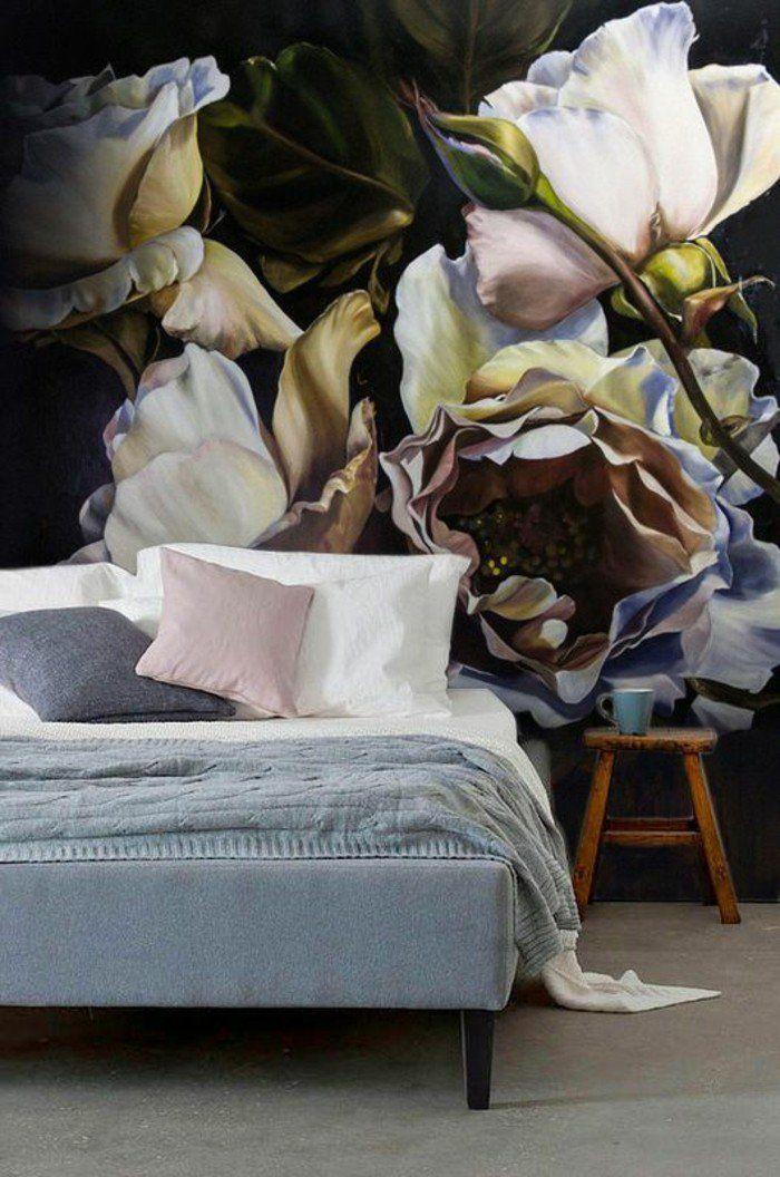 chambre à coucher revêtement mural effet 3d tapisserie murale originale