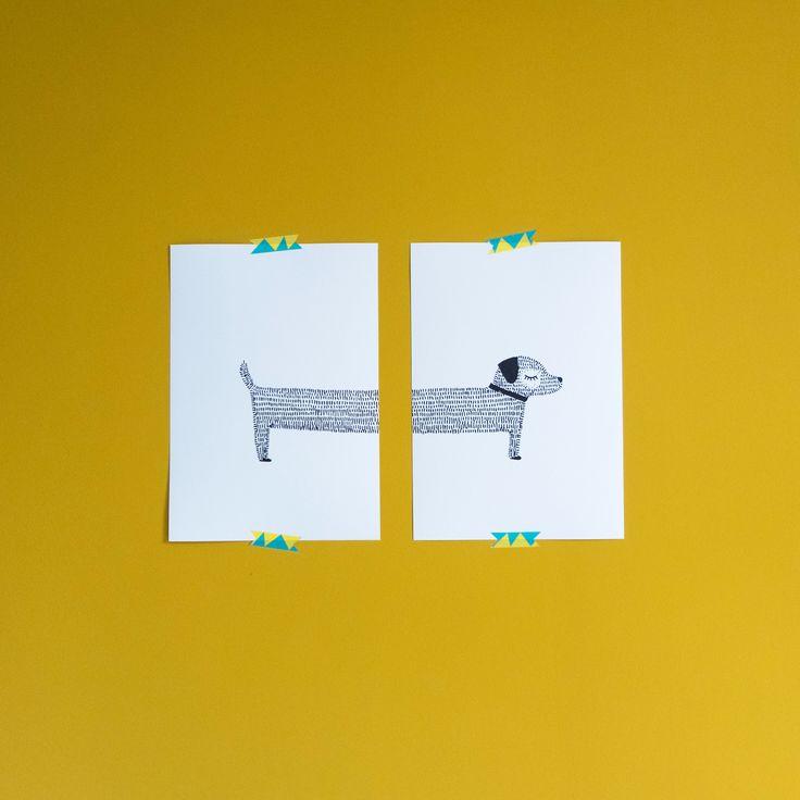 ... muurdecoratie : dier : hond : handgetekend : tekening : geel : zwart