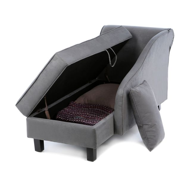 Modern Grey Chaise Lounge Fainting Couch Storage Apartment Sized Furniture a great idea!  sc 1 st  Pinterest : where to put a chaise lounge - Sectionals, Sofas & Couches
