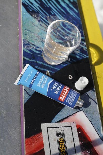 Glue your shot glasses into your shot ski