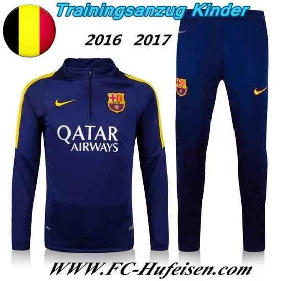 Schönsten Neue Fußball Trainingsanzug FC Barcelona Kinder Kits Blau Marine 2016 2017 Meaney
