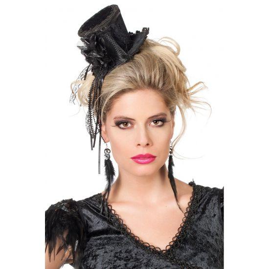 Steampunk zwarte hoge hoed voor dames