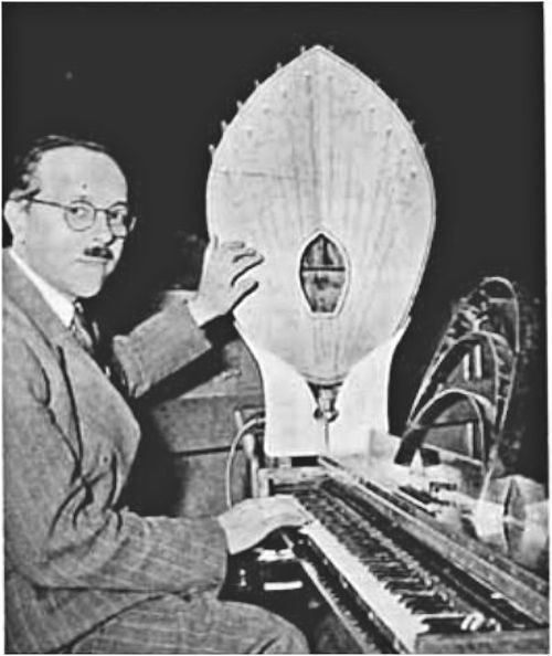 Designed to improve radio reception: this structure, at the end of the piano-keyboard, is claimed by its French inventor as a sound-reproducer of exceptional fidelity. 1950