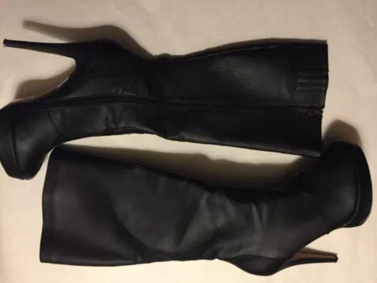 #shoedazzle black midcalf platform boot size 11