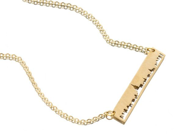 New York City SKYLINE OUTLINE Necklace - Yellow Brass NYC Unisex Design on Etsy, $88.00 #wishlist
