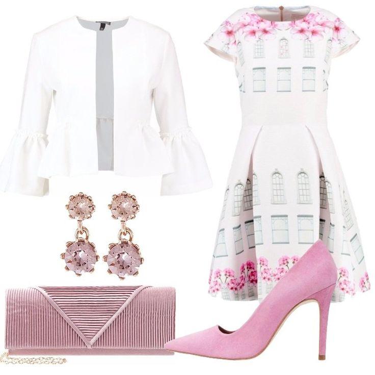 Un outfit primaverile di ispirazione romantica, adatto ad una serata elegante o per una cerimonia: blazer ivory, scollo tondo, maniche a 3/4 con volant, così come sul fondo, abbinato a vestito baby pink, in fantasia floreale, scollo tondo, manica molto corta, gonna mossa da pieghe. Décolleté pink, punta, tacco a spillo, pochette rose, chiusura magnetica, tracolla dorata, deliziosi orecchini pendenti a forma di fiore rose gold-coloured/pink.