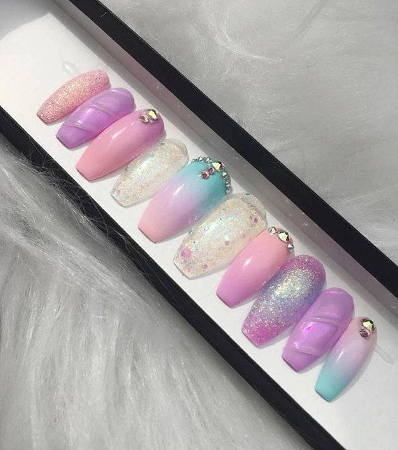 Fantasy Press On Nails With Gorgeous Genuine Ab Swarovski Crystals Glitter And Mermaid Powders So Girly Style Pictured Is Long Coff In 2019 Press On Nails Nails Nail Tip Designs
