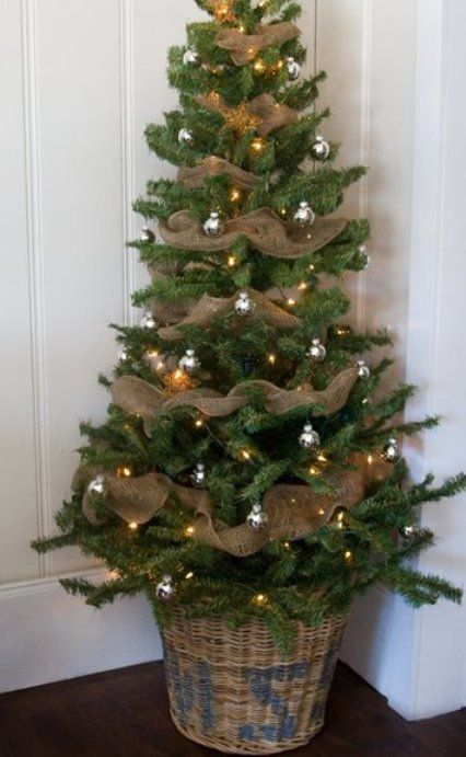 Christmas trees decorated with burlap