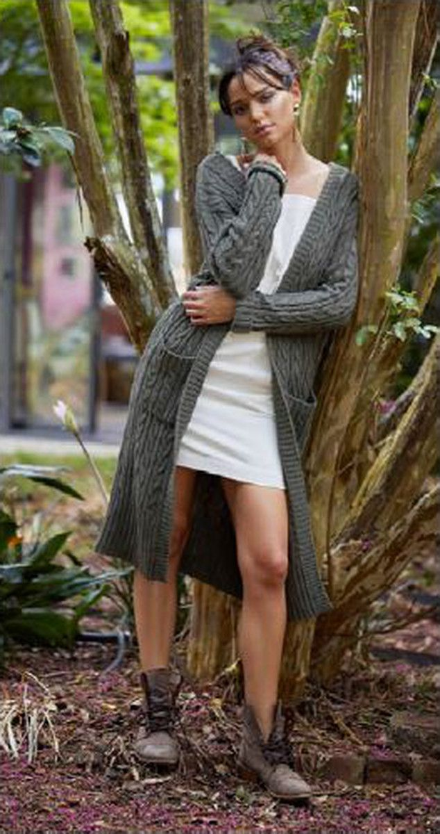 Sundays the Label - Felix Cable Knit Coat In Khaki