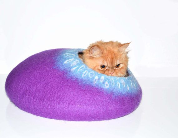 Purple Cat Bed, Cats Cave, Pets House felted wool on Etsy, $67.55 Pfft! So cute