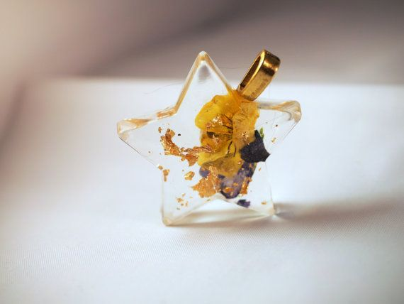 Eco resin real flowers only pendant with real 24 by LovelyOxford