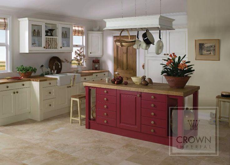 Cream Kitchen, Red Island And Beautiful Chalky Oak Worktop | Country Kitchen  | Pinterest | Kitchens