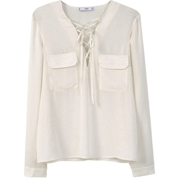 Mango Drawstring neck blouse (£36) ❤ liked on Polyvore featuring tops, blouses, cream, women, drawstring blouse, drawstring top, long sleeve tops, long sleeve blouse and cream long sleeve top