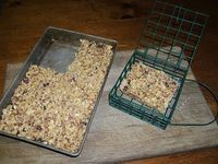 Cake for the Chickens! The general measure is this: for each 1-1/2 cup measure of liquid fat, add about 5 cups of cereals, 1-1/2 cups of seed, and ¼ cup seed/nut butter.