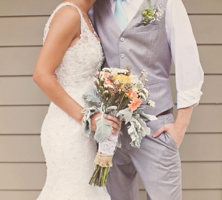 This is my favorite dress so far. I love everything about this girl's wedding!! I like her husband's outfit too.
