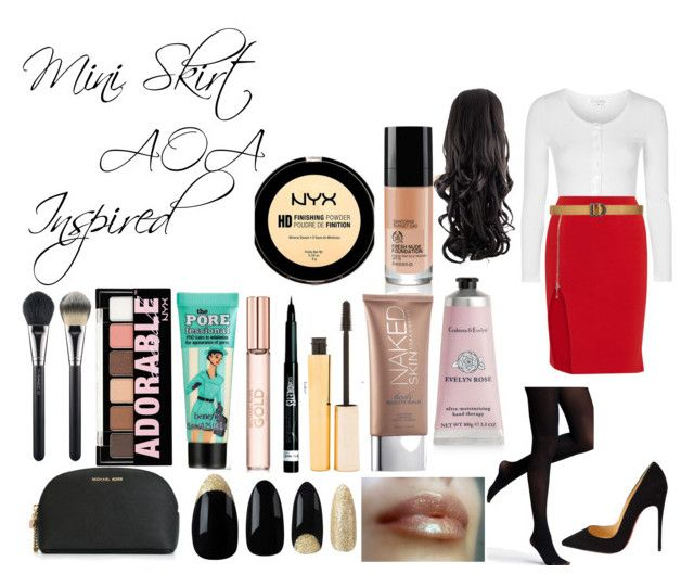 """""""AOA Mini Skirt inspired outfit"""" by shesadopegirl ❤ liked on Polyvore featuring Topshop, Alexander Wang, Christian Louboutin, 5.11 Tactical, Express, Therapy, Urban Decay, Stila, Rimmel and MICHAEL Michael Kors"""