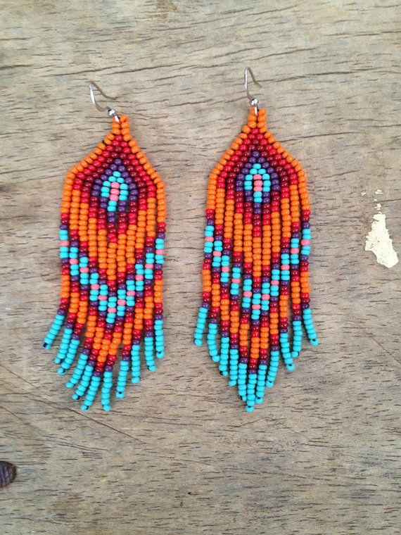 Chevron native style turquoise dangly beaded earrings by ziguidi, $35.00