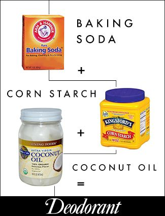 Deodorant Mix 2 tbs baking soda and 2 tbs cornstarch with 1 tbs coconut oil, and then apply under your arms. For added fragrance, mix in a couple drops of your favorite essential oil.
