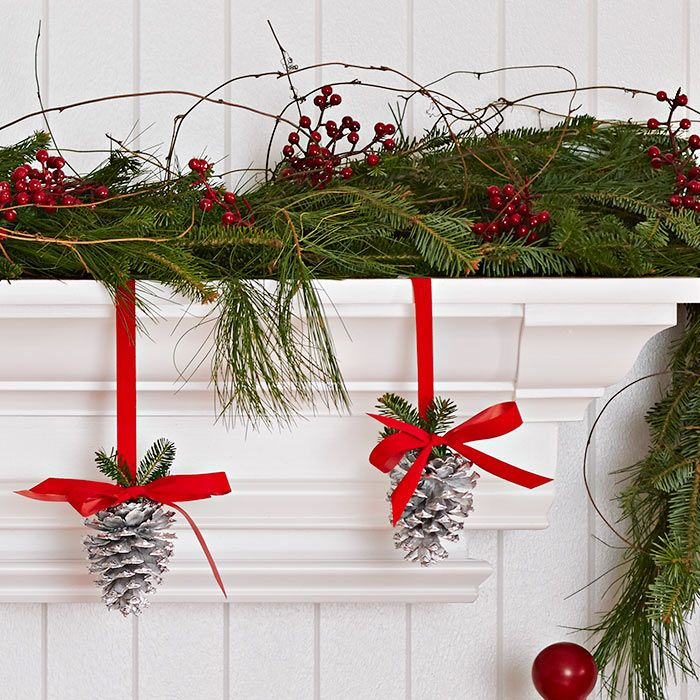 Decorate A Shelf Or Mantel With Holiday Greenery. Stack