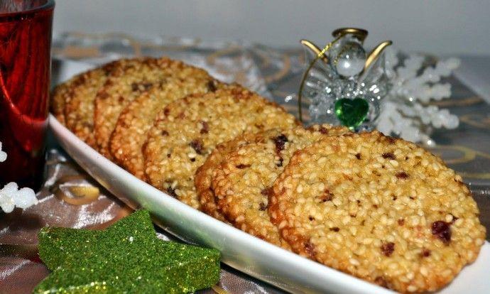 Sezamové sušenky s brusinkami