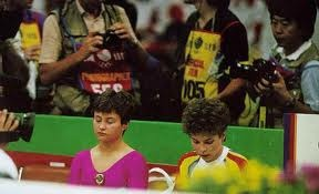 Elena Shushunova (USSR) and Daniela Silivas (Romania) put on one of the best showdowns for all-around gymnastics gold of all time in Seoul in 1988. I was barracking for Silivas.