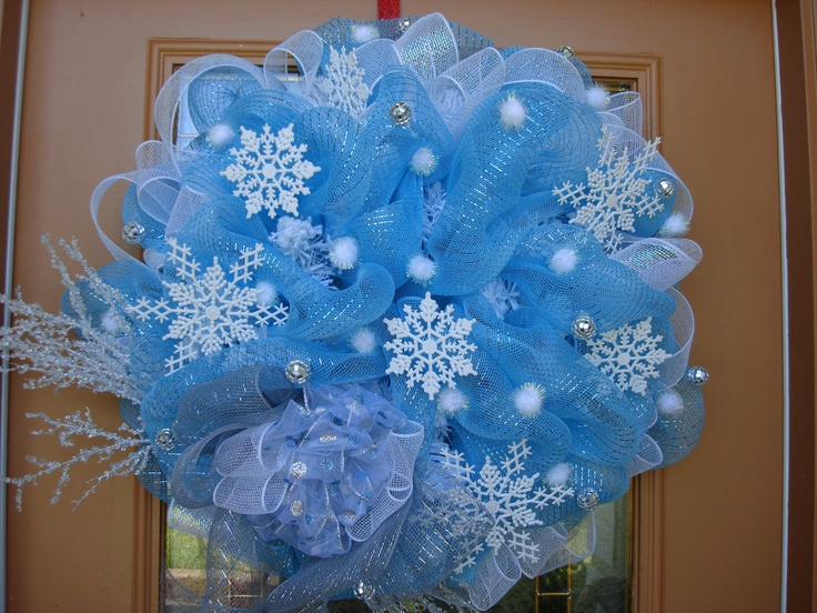 Image detail for -Deco Mesh Blue Winter Wreath by DecoDzigns on Etsy