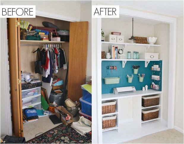 Before and after a messy closet becomes a crafting nook for Small dirty room 7 letters