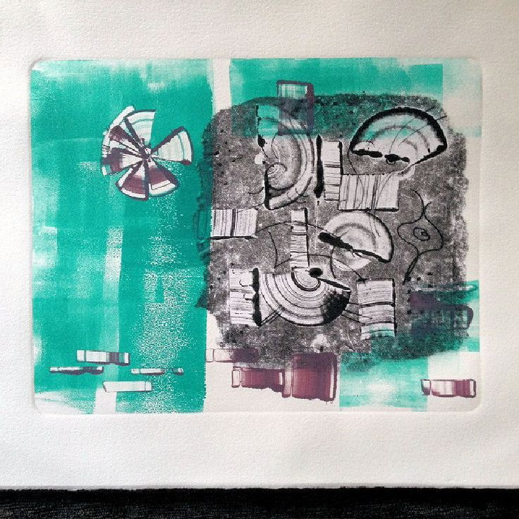 Original Oil Monotype Print 'Sunday Afternoon' by DoodleArtbyBee on Etsy