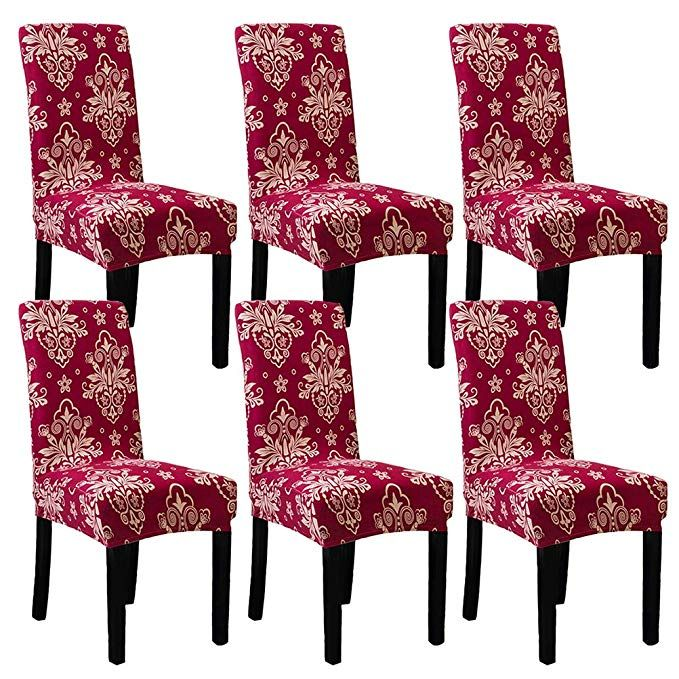 Subcluster 6 Pcs Set Soft Stretchable Dining Chair Covers With Printed Floral Patterns Spandex Banqu Dining Chair Covers Dining Chairs Dining Room Chair Covers