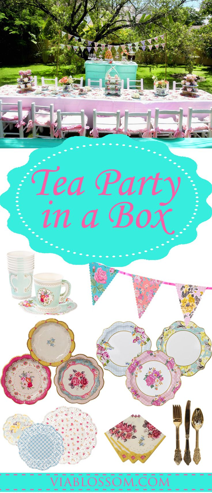 Leave the guess work behind! Celebrate a Fabulous Tea Party for 12 guests with our Tea Party in a Box! In this party pack we have included our favorite Tea Party Supplies for easy shopping at a lower cost