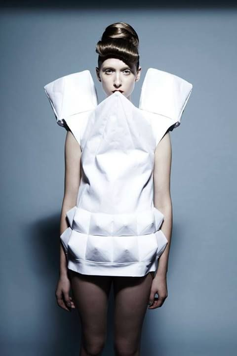 Sculptural Fashion - geometric dress with faceted shapes & 3D shoulders // Bunka Fashion Academy, fashion student work