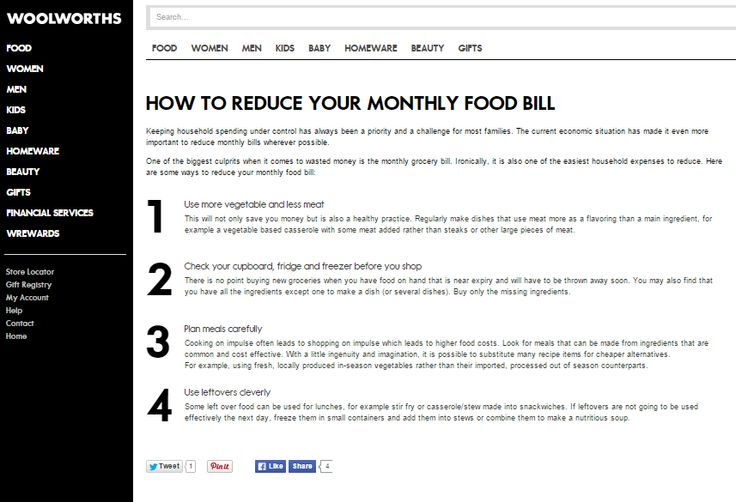 How to Reduce Your Monthly Food Bill; Website article for Woolworths Online (South Africa) Need similar (or other copywriting/web content) work done? Contact me - darrell@wordtiffie.co.za #wordtiffie