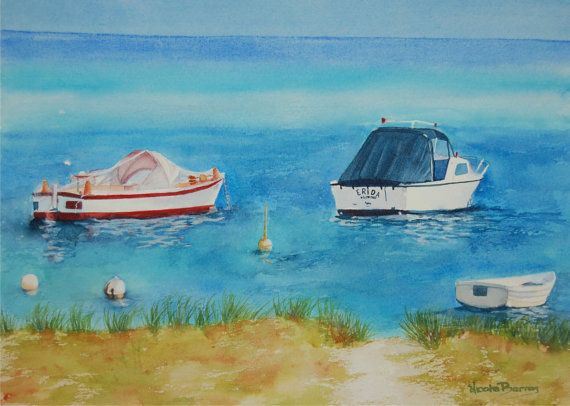 On The Bay Boats Original Watercolour Painting by NicoleBarrosArt,