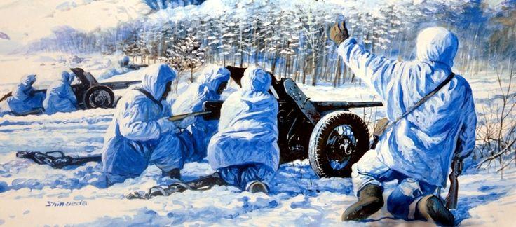 1941 11 Batalla de Moscú, cañones AT rusos - Shin Ueda