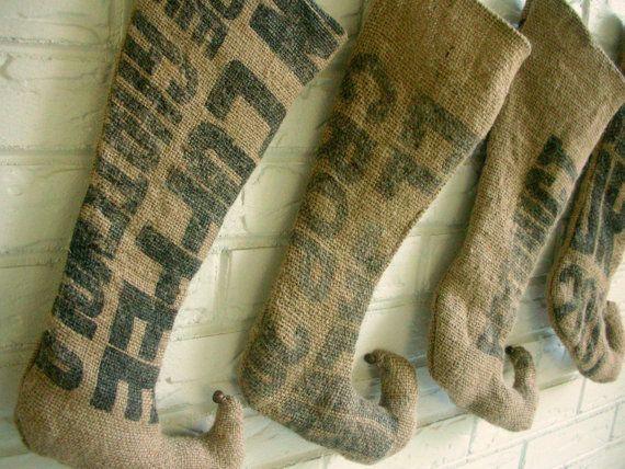 Rustic Christmas Stocking - Burlap Stockings Shabby Chic - Farmhouse Holiday Decor - Primitive Christmas. $40.00, via Etsy.