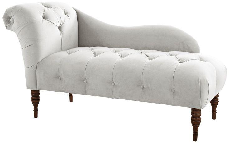 White Velvet Upholstered Chaise Lounge Chair -