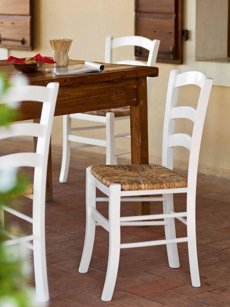 € 23,90 PAESANA #sedia in #legno massello e sedile in vera paglia, laccata #bianca, #stile #country, #rustico #shabby #provenzale. 100% #MadeinItaly in #offerta #prezzo su www.chairsoutlet.com