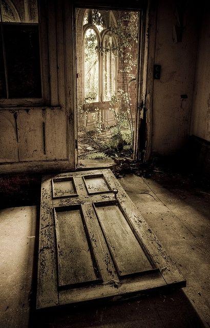 Old wooden door, weathered, cracks, tilted door, doorway, abandoned, beauty, lovely, aged