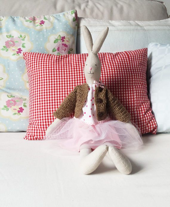 Ballerina bunny dollDress up rabbit Heirloom doll  Stuffed