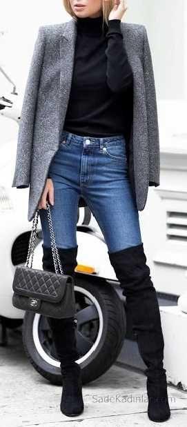 2018-2019 Sonbahar Kış Kombinleri Mavi Pantolon Siyah Kazak Gri Mont