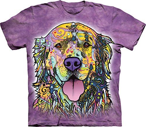 The Mountain Men's Dean Russo Golden Retriever T-Shirt, Purple, Medium ** Click image to review more details.