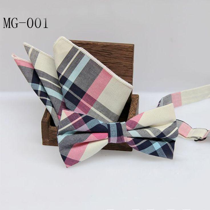 Mantieqingway England Style Men Plaid Bowtie Pocket Square Handkerchief Sets for Suits Business Pocket Square Towel Bow Tie Set