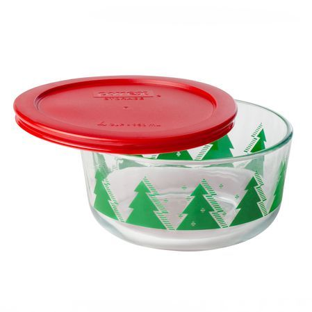 #Pyrex Storage Plus® 4 Cup Christmas Trees Holiday Dish - The green trees are complemented by a festive red lid. The bowl is the perfect container for giving homemade cookies or storing holiday leftovers. Click through to shop.