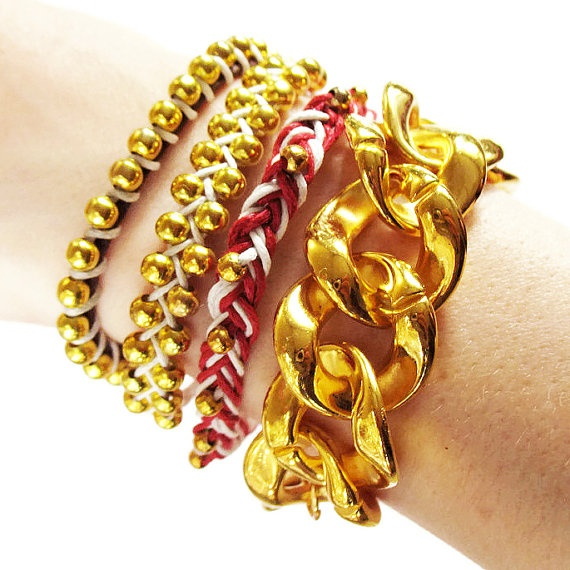 Gold chain bracelet chunky gold chain by deathdiscolovesyou, $8.00