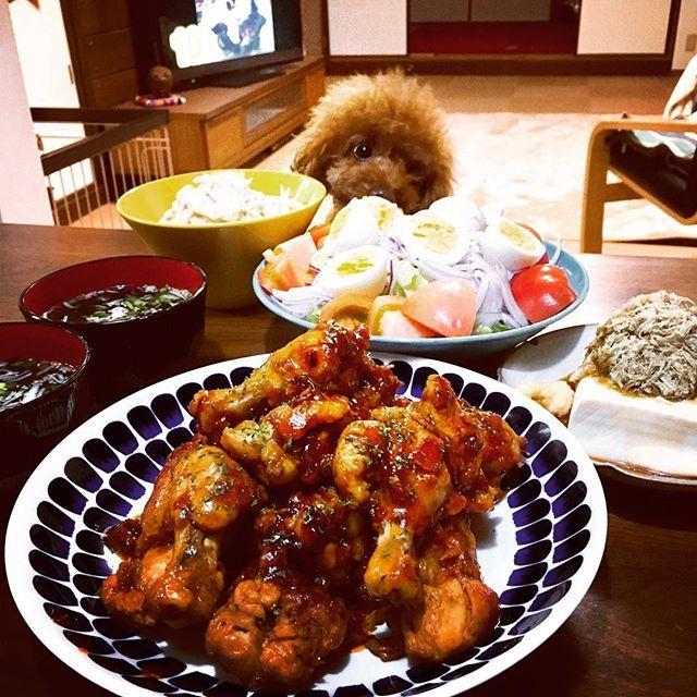 ごちそうさまでした(*˘▿˘✽). . #こってり手羽元煮込み. #大根のオイマヨサラダ. #とろろ昆布豆腐. #野菜サラダ. #しじみとわかめのスープ . .  #トイプードル #犬バカ部#ふわもこ部#トイプードル部#犬#愛犬#わんこ#トイプー#おうちごはん #おうちカフェ #晩ごはん#toypoodle#instadog#lovely#dog#lovedogs#doglover#ilovemydog#petsstagram#instagramdogs#pet#pets#instafood#dinner